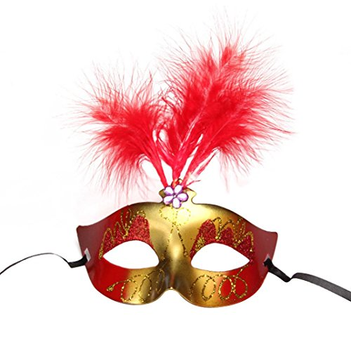 Hatop 1X Charming Sexy Adult Feather Plastic Mask Lovely and Luminous Feather Mask (Red)