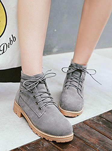 Daily Toe Round Booties Frosted Ankle Aisun Lace Up Women's Gray Cw5vtgq1