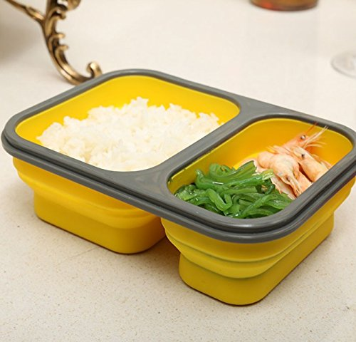 900Ml Silicone Collapsible Portable Lunch Box Food Storage Container 2 Cell Bowl Bento Boxes Folding Lunchbox Eco-Friendly