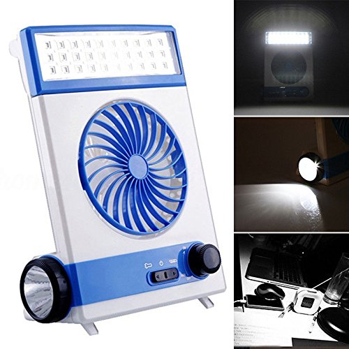 Solar Power AC Rechageable 2-in-1 Camping Cool Fan Light Tent LED Lantern Cooler by Unknown