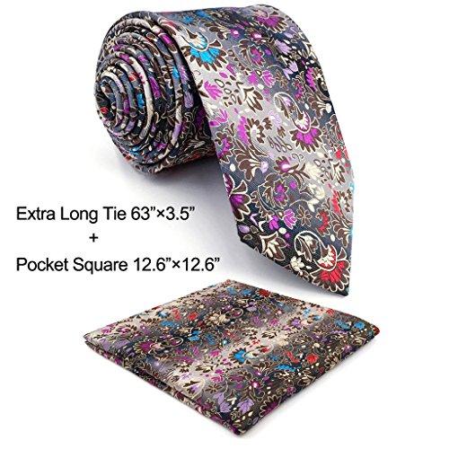 Shlax & Wing Extra Long Size Necktie Multicolor Floral Men's Tie Silk Classic (Extra Long Designer Ties)