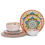 Melamine Dinnerware Set for 4 - 12 Pieces Dishes Set for Camping RV, Dishwasher Safe, Unbreakable, Orange