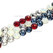 144 pcs (1 gross) Swarovski 2058 Xilion / 2088 Xirius Rose crystal flat backs No-Hotfix rhinestones nail art AMERICAN Colors Mix ss20 (4.7mm) **FREE Shipping from Mychobos (Crystal-Wholesale)**