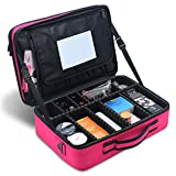Professional Cosmetic Organizer Makeup Train Case with Mirror 2 Layer Large Size Make Up Artist Box with Adjustable Shoulder for Makeup Brush Set Hair Style Nail Beauty Tool (Hot Pink)