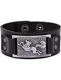 Vintage Fenrir Nordic Wolf Celtic Knot Metal Cuff Bracelet Spiritual Animal Jewelry for Men/Women Gift