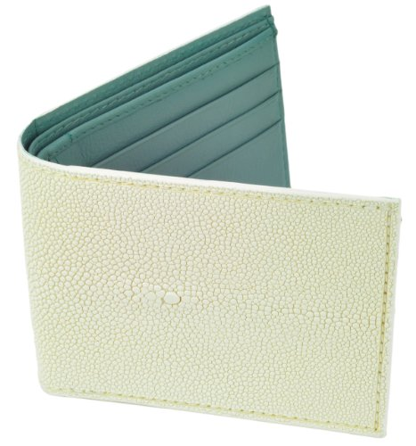 (Stingray Leather Wallet, BiFold, 6 Credit Card Slots, White w/Gray Leather Interior)