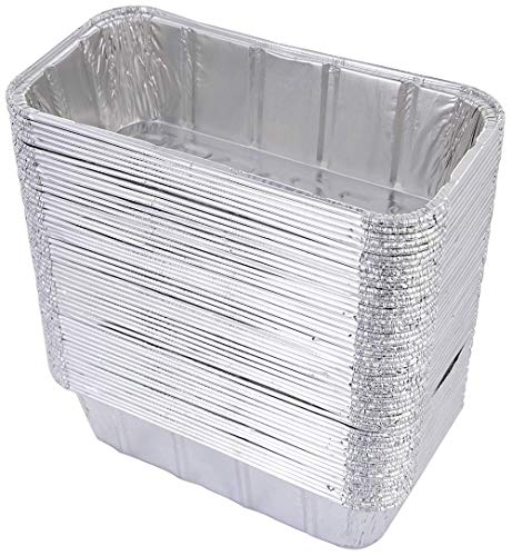 Hecentur Aluminum Drip Pans Disposable BBQ Drip Pan Tray Aluminum Foil Tin Liners for Holds Bread, Meat, Dishes, and for Indirect Grill Cooking, 8.5 X 4.5 X 2.5, 6PCS