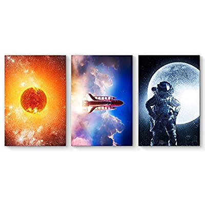 Original Creation, Wonderful Piece of Art, 3 Panel Rocket with Astronaut Child Painting Wall Decor for Living Room Framed x 3 Panels