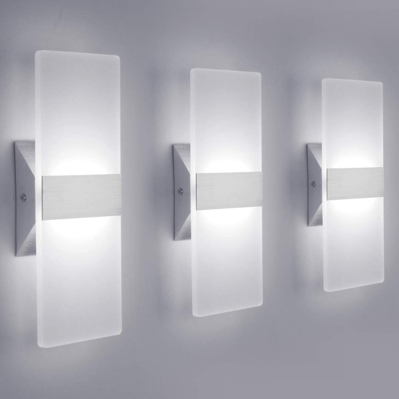 LED Wall Sconce Modern Wall Light Lamps 12W Cool White 6000K Up and Down Indoor Acrylic Lighting Fixture for Living Room Bedroom Hallway Conservatory Home Room Decor Not Dimmable(3 Pack)