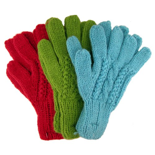 Alpaca Blend Knit Cable Gloves Six Pair Wholesale Pack Hand Made Fair Trade Peru *004416* by Sanyork Fair Trade