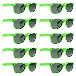 BULK WHOLESALE UNISEX 80'S RETRO STYLE BULK LOT PROMOTIONAL SUNGLASSES - 10 PACK (Neon Green)