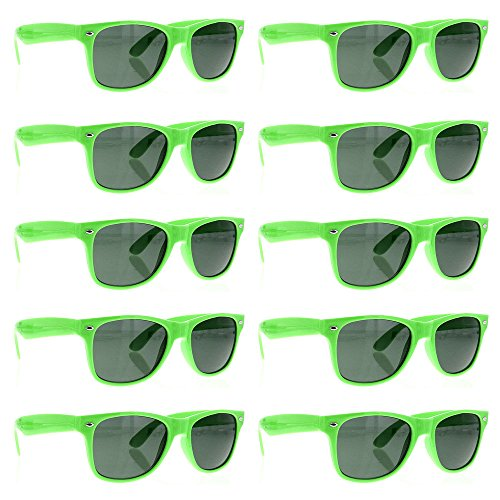 BULK WHOLESALE UNISEX 80'S RETRO STYLE BULK LOT PROMOTIONAL SUNGLASSES - 10 PACK (Neon - Wholesale Novelty Sunglasses
