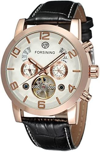 Forsining Mens Tourbillon Calendar Brand Automatic Wristwatches FSG165M3G1