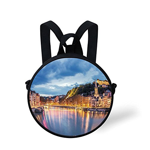 Toddler Preschool Backpack,European,View of Saone River in Lyon City at Evening France Blue Hour Historic Buildings,Multicolor,for Little Boys Girls