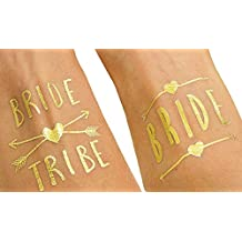 (12 pack) Bachelorette and Bride Tribe Temporary Tattoos by Bachelorette Babes -Metallic Shiny Gold Tattoos - Bachelorette Party Supplies and Accessories Favors