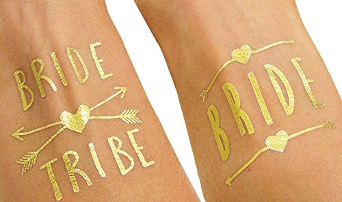 (12 pack) Bride and Bride Tribe Gold Temporary Tattoos For A Bachelorette Party