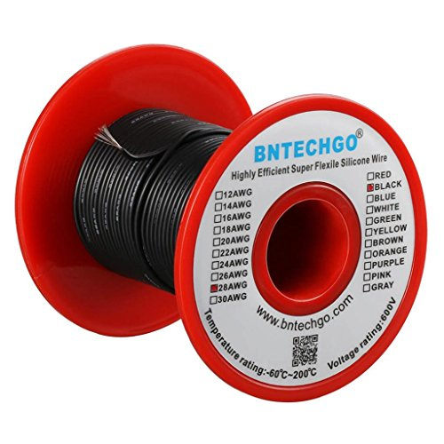 BNTECHGO 28 Gauge Silicone Wire 50 feet Spool Black Soft and Flexible High Temperature Resistant Highly Efficient Electric Wire 28 AWG Silicone Wire 16 Strands of Tinned Copper - Spool 28 Gauge