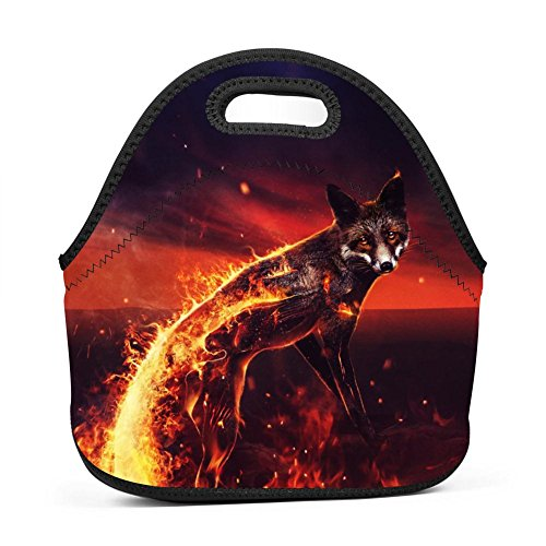 - Brniogn Fantasy Fire Fox Look Lunch Bag for Adult Women and Men - Idea for Beach, Picnics, Road Trip, Meal Prep, Everyday Lunch to Work or School