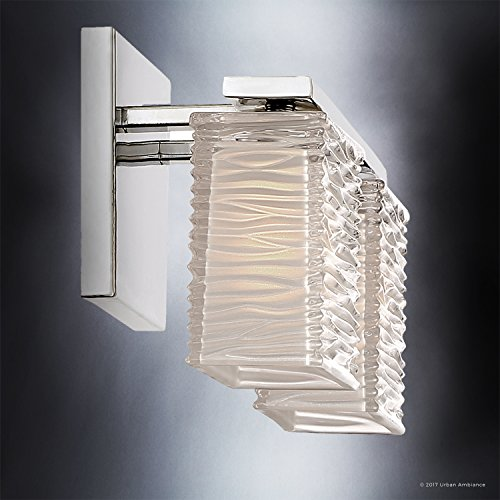 Luxury Modern Bathroom Light, Medium Size: 6.75''H x 15''W, with Style Elements, Polished Chrome Finish and Sandblasted Inner, Clear Wavy Outer Glass, G9 LED Technology, UQL2721 by Urban Ambiance by Urban Ambiance (Image #4)