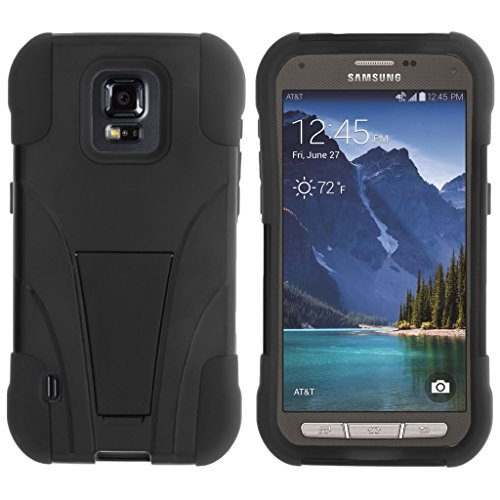 TurtleArmor | Samsung Galaxy S5 Active Case | G870 [Gel Max] Impact Proof Cover Hard Kickstand Hybrid Fitted Shock Silicone Shell Military War Camo Design - Black