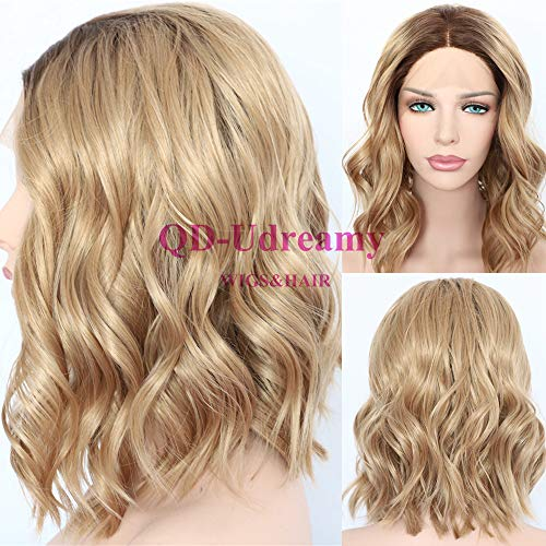 QD-Udreamy Synthetic Lace Front Wigs Dark Roots 8# Ombre Brown Short Wavy Glueless Lace Front Wigs Hair Realistic Looking for ()