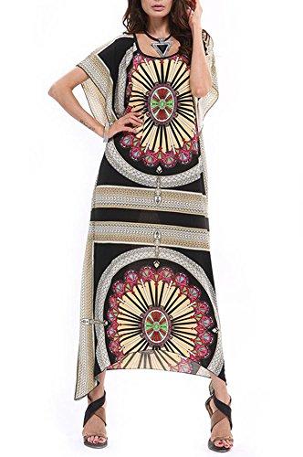 Twc Summer Vintage Print Maxi Long Dress  One Size