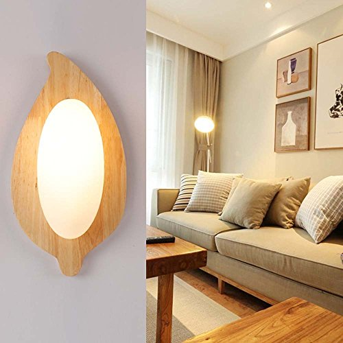 HOMEE Wall lamp- modern creative led europe simple wood art wall lamp bedside wall lamp bedroom balcony aisle living room wall lamp --wall lighting decorations by HOMEE