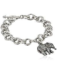 1928 Jewelry Women's Pewter Elephant Charm Toggle Bracelet, Silver, One Size