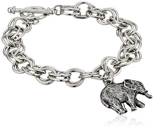 1928 Jewelry Women's Pewter Elephant Charm Toggle Bracelet, Silver, One (Best 1928 Jewelry Charm Bracelets)