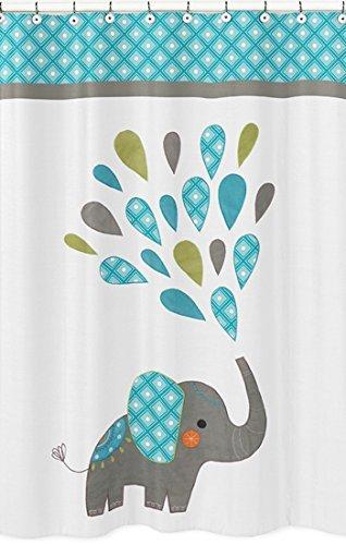 Sweet Jojo Designs Turquoise, White and Gray Mod Elephant Ki