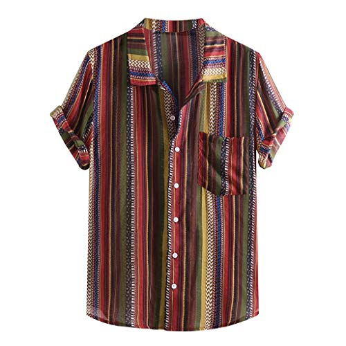 Mens Ethnic Printed Shirt,Stand Collar Colorful Stripe Short Sleeve Loose Pocket Henley Shirt ()
