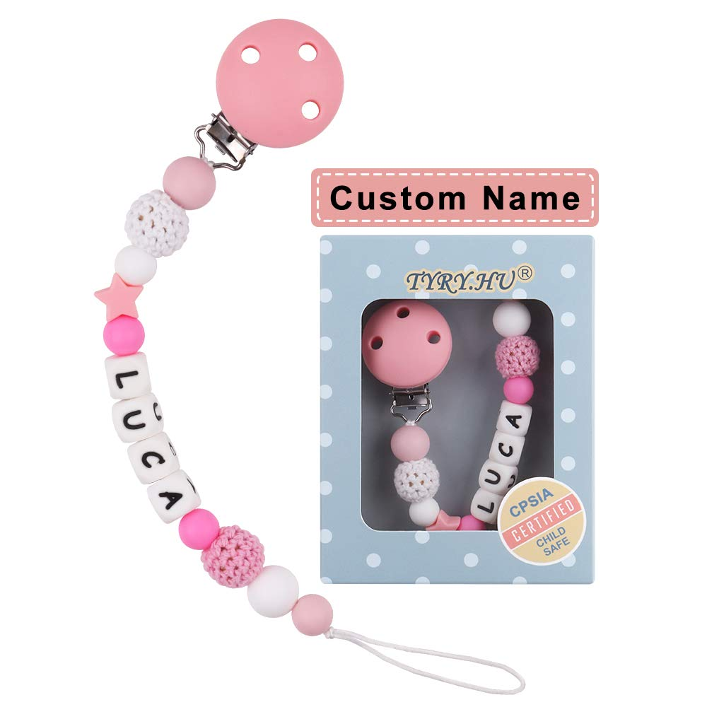 Personalized Name Teething Dummy Clips Flamingo Teether Pacifier Teething Pain Relief Toys Food Grade Silicone Chewable Beads BPA Free Binky Holder Set for Newborn Toddler Baby Shower Gift TYRY.HU