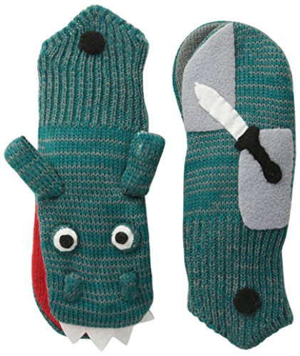 Kidorable Green Dragon Knight Soft Acrylic Mittens for Boys w/Puppet Dragon Mouth, Small (Ages 3-5)