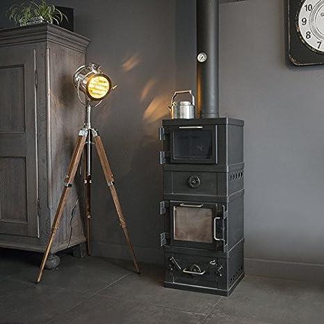 QAZQA Moderno Lámpara de pie TRIPOD Radiant madera y cromo ...