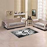 "InterestPrint Custom Black and White Music Notes Area Rugs Carpet 2'7"" x 1'8"", Musical Note Lines Modern Floor Rug Mat Collection for Living Dining Room Home Decoration"