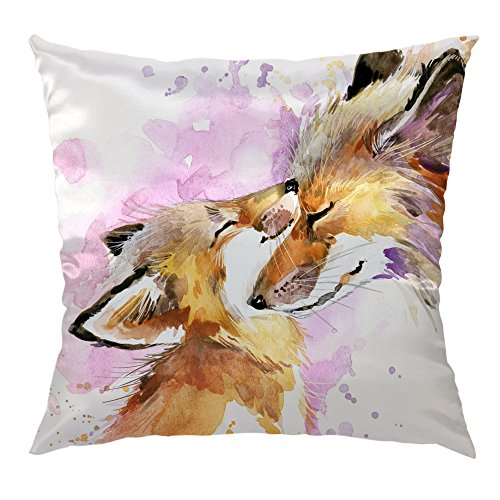 HGOD DESIGNS Fox Pillow Cover,Funny Little Fox and Mother Love Satin Cushion Pillow Case Square Standard Home/Sofa Decorative for Men/Women 18x18 inch Brown,Pink