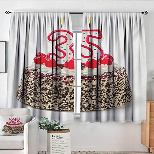 HOMEDECORATIONS 35th Birthday Patterned Drape for Glass Door Gourmet Dessert Cherry Cake Pie for Party Special Day Age Thirthy Five Waterproof Window Curtain 72