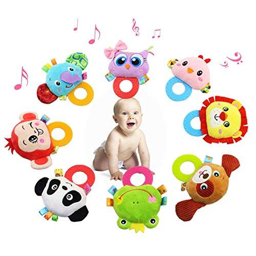 CYNDIE Sonajero de bebé Bell de mano Juguetes Búho de peluche Elefante Mono León Sonajero Muñecas Regalos para bebés