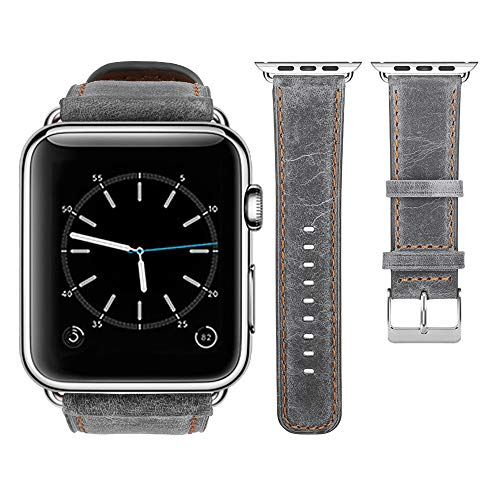 top4cus Genuine Leather iwatch Strap Replacement Band Stainless Metal Clasp, Compatible Apple Watch Series 4 Series 3 Series 2 Series 1 and Sport Edition(Retro Grey, 38mm)