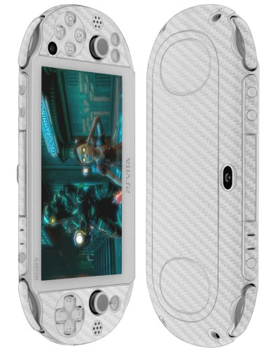 reen Protector + Silver Carbon Fiber Full Body, Skinomi TechSkin Silver Carbon Fiber Skin for Psp Vita Pch-2000 with Anti-Bubble Clear Film Screen ()