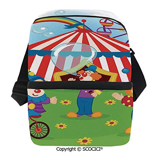 SCOCICI Cooler Bag Fun Circus Scene with Clowns on Grass Rainbow Ferris Wheel Happy Bubbles Childhood Theme Insulated Lunch Bag for Men Women for Kayak,Beach,Travel,Work,Picnic,Grocery ()