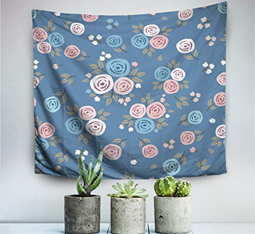 ROOLAYS Home Art Decor Wall Hanging Tapestry Floral Pattern Roses Textile Wallpapers Gift Wrap Blue Background with 60x50 Inches for Living Room Dorm Background Tapestries