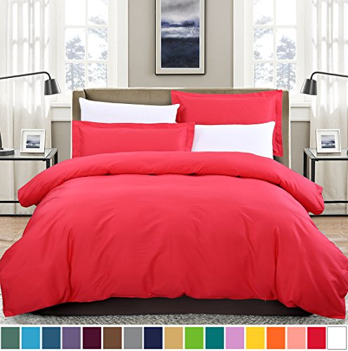 SUSYBAO 2 Pieces Duvet Cover Set 100% Natural Cotton Twin/Single Size 1 Duvet Cover 1 Pillow Sham Rose Red Hotel Quality Soft Breathable Hypoallergeic Fade Stain Wrinkle Resistant with Zipper Ties - Red Single Set