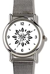 Floral Design (Black on White) 2 - WATCHBUDDY® ELITE Chrome-Plated Metal Alloy Watch with Metal Mesh Strap - Small ( Children's Size - Boy's Size & Girl's Size )