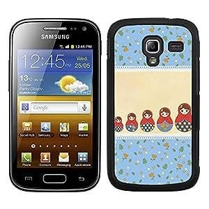 Funda carcasa para Samsung Galaxy Ace 2 diseño estampado matrioska azul y beige borde negro