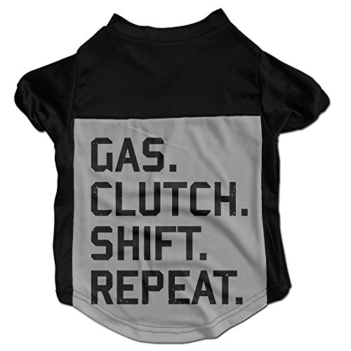 Clutch Polo - PGxln Pet Dog Doggy Cat Puppy Tshirt Gas Clutch Shift Repeat Polo Dogs Size M Color Black
