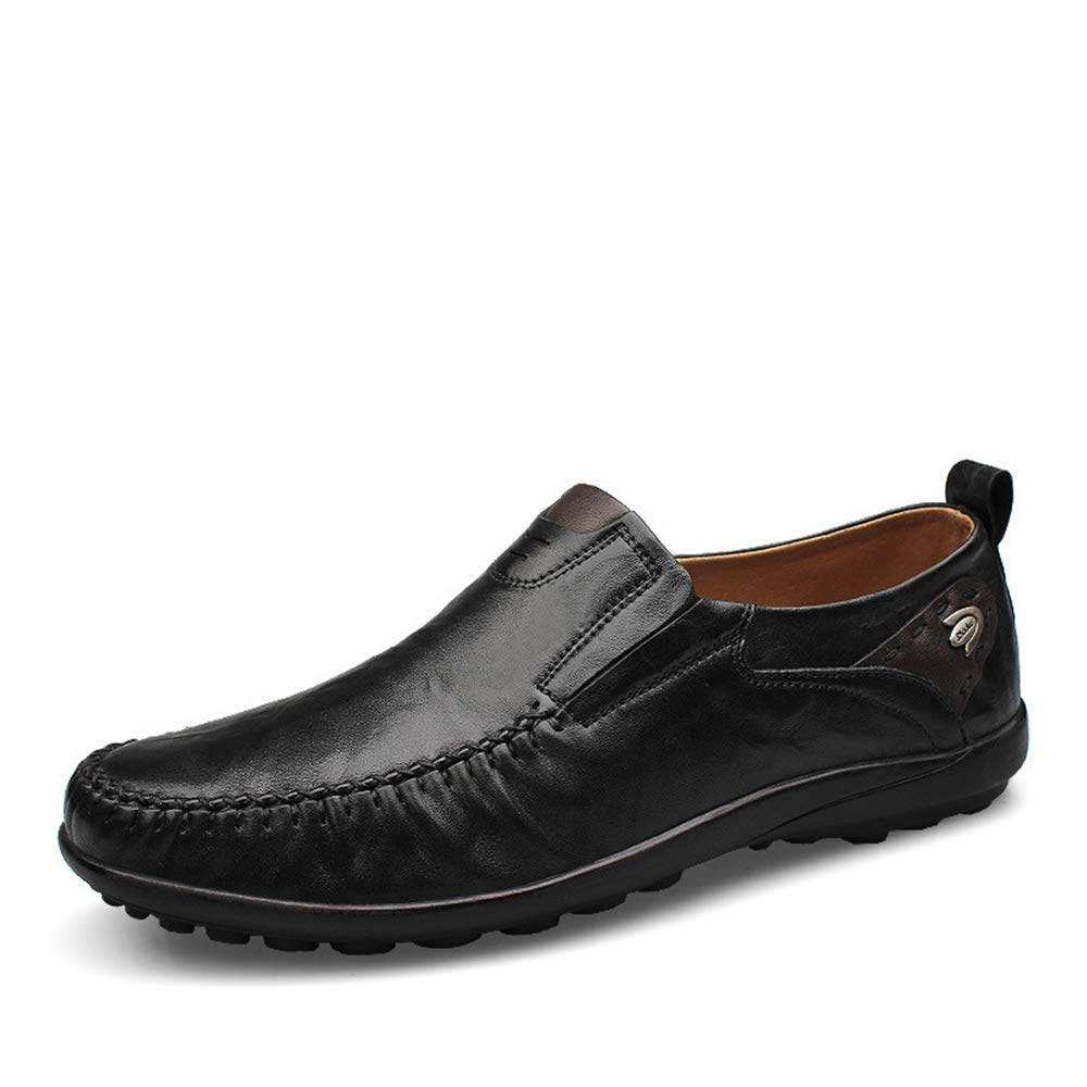 ZHRUI   Herren Echtes Leder DrivingSchuhe Casual Formale Loafers Weiche Sohle Rutschfeste Komfort Loafers Formale (Farbe : Braun, Größe : EU 46) Schwarz 6d5c4f