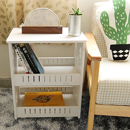 Tea Table Removable Indoor End Table Sofa Side Stand Home Mobile Portable White