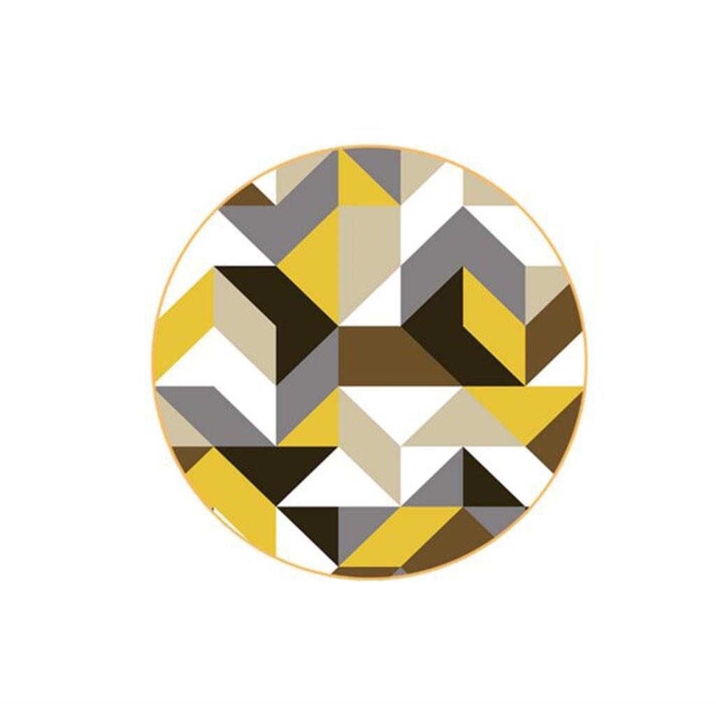 Tapis rond dans le salon Chambre à coucher pour la table à café Table de chaise Tapis Tapis jaune Forme géométrique Couleurs mixtes (taille : Diameter 80cm)