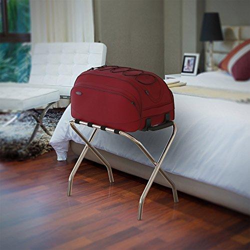 Lavish Home Chrome Folding Luggage Rack and Suitcase Stand- Durable Folding Bag Holder with Black Nylon Straps by Lavish Home (Image #6)